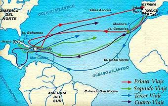 Dibujo de las rutas o recorridos de Cristobal Colón