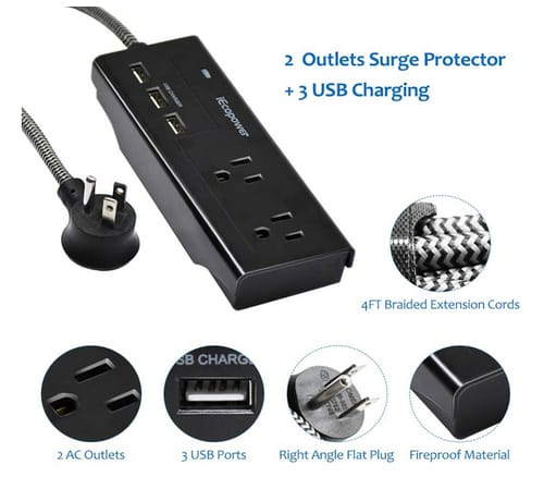 IECOPOWER Power Strip with 3 USB Charging Ports