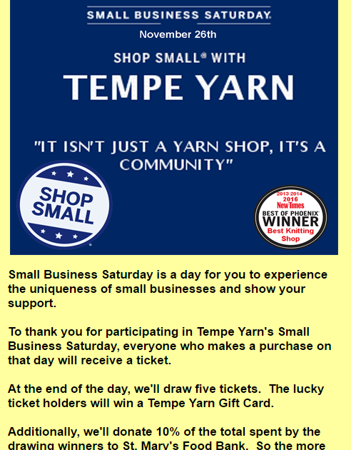 Tempe Yarn Small Business Saturday - Help St Mary's Food Bank