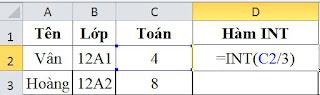 tinhoccoban.net - Ví dụ hàm INT trong Excel