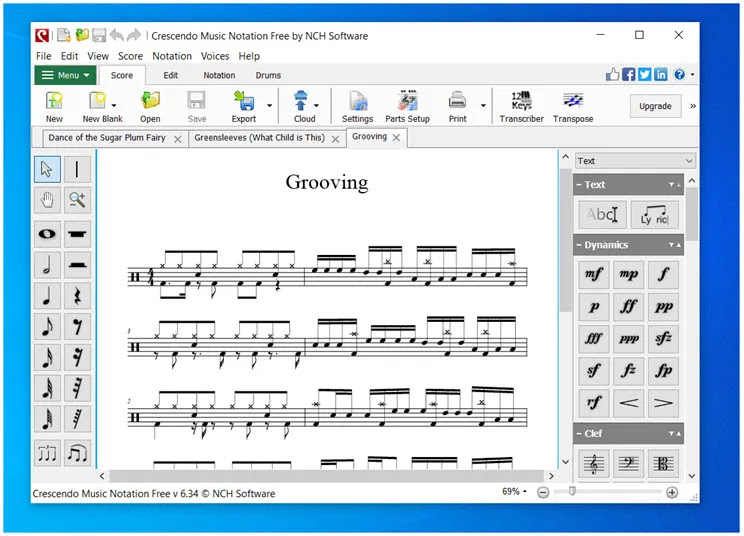 Crescendo Music Notation Free : Αποθηκεύσετε και εκτυπώσετε τις μουσικές σας συνθέσεις