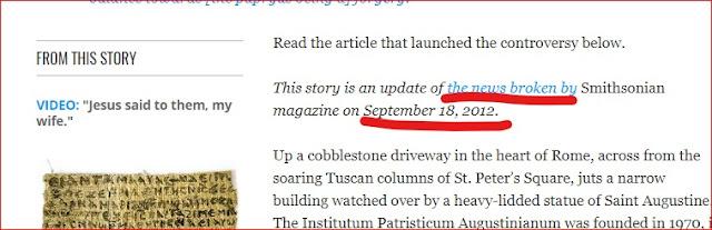 Recorte de pantalla de la actualización del Smithsonian, que reenvía al artículo original del 18 de septiembre de 2012.