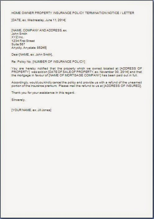 House Insurance Cancellation Letter