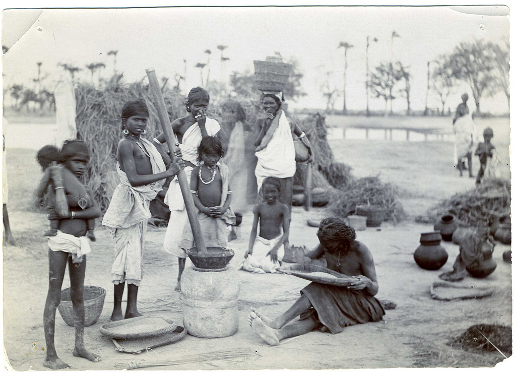 Group of Women and Children in a Village - Madura, South India