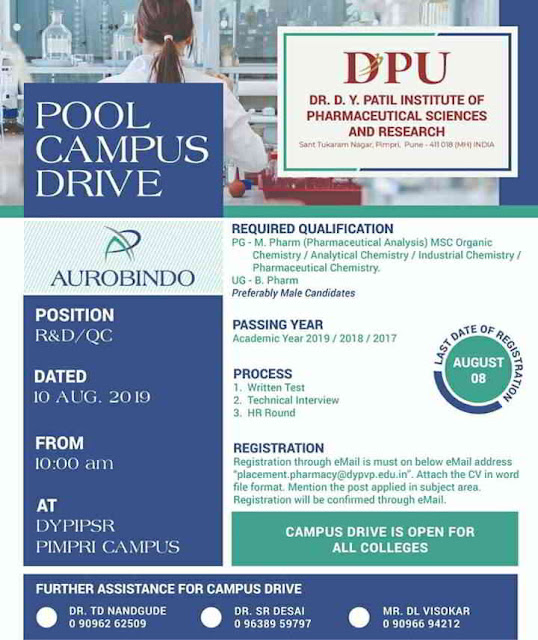 Aurabindo Pharmaceuticals - Pooled Campus drive for Freshers on 10th August, 2019