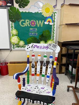 music rocking chair, grow with music, plant theme, boho