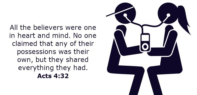 All the believers were one in heart and mind. No one claimed that any of their possessions was their own, but they shared everything they had.