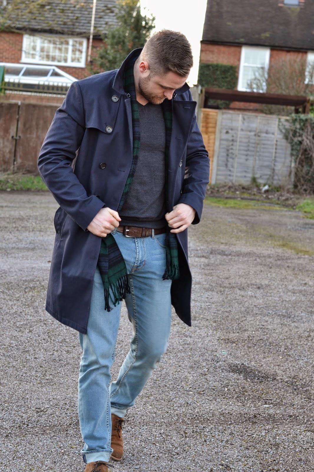 Ben Heath wearing a Ben Sherman Navy Trench Coat and Tartan Scarf