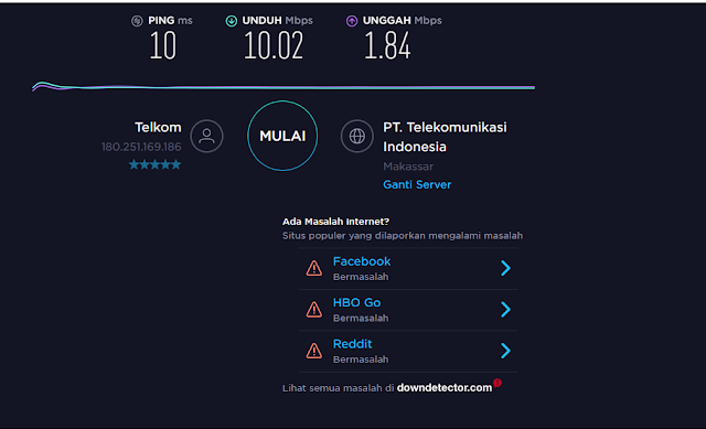 Speedtest Indihome 10 Mbps