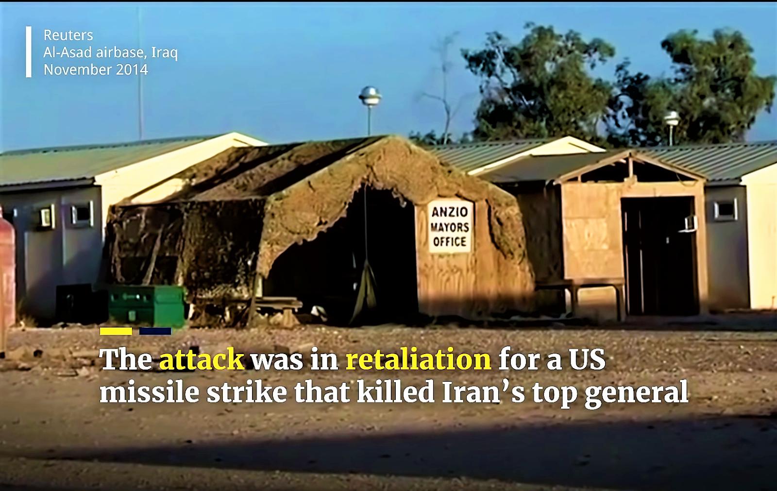 Al asad air base, Iran targeting US forces in Iraq.