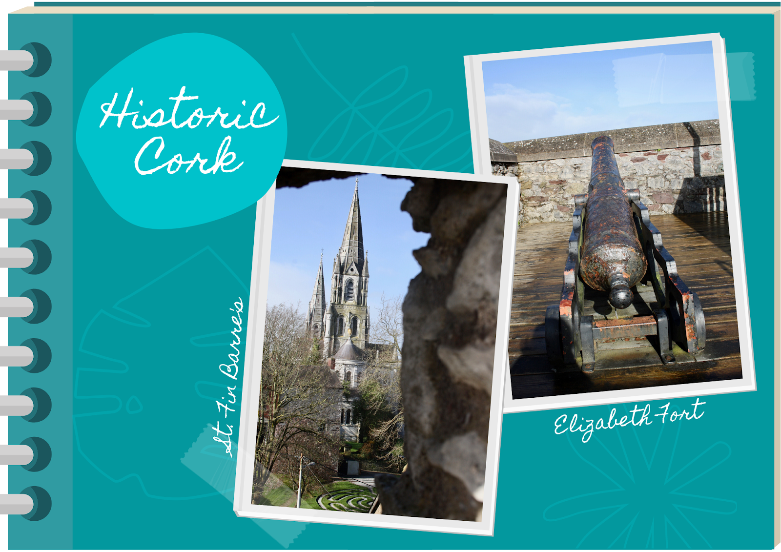 blue scrapbook featuring photos of St Fin Barre's cathedral and Elizabeth Fort, Cork