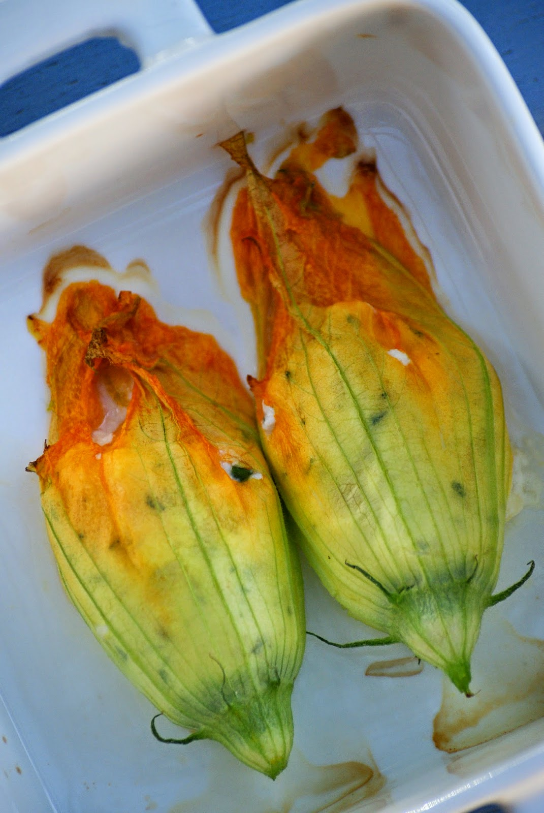 Baked Zucchini Flowers Stuffed with Ricotta and Herbs