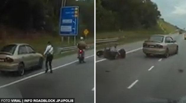 (Video) Lelaki lari dari sekatan jalan, langgar penunggang motosikal