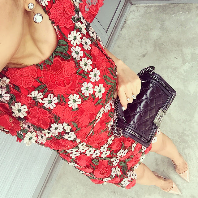 Topshop floral a line lace dress, chanel boy bag, kendra scott camillia earjackets, christian louboutin so kate pumps, Kendra scott Branson Open Ring, fashion blog, from where i stand