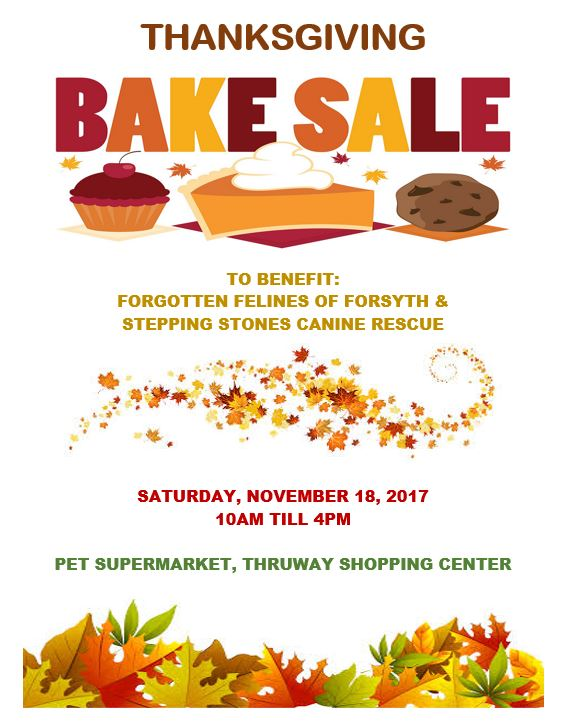 stepping stones canine rescue November 18, Thanksgiving Bake Sale