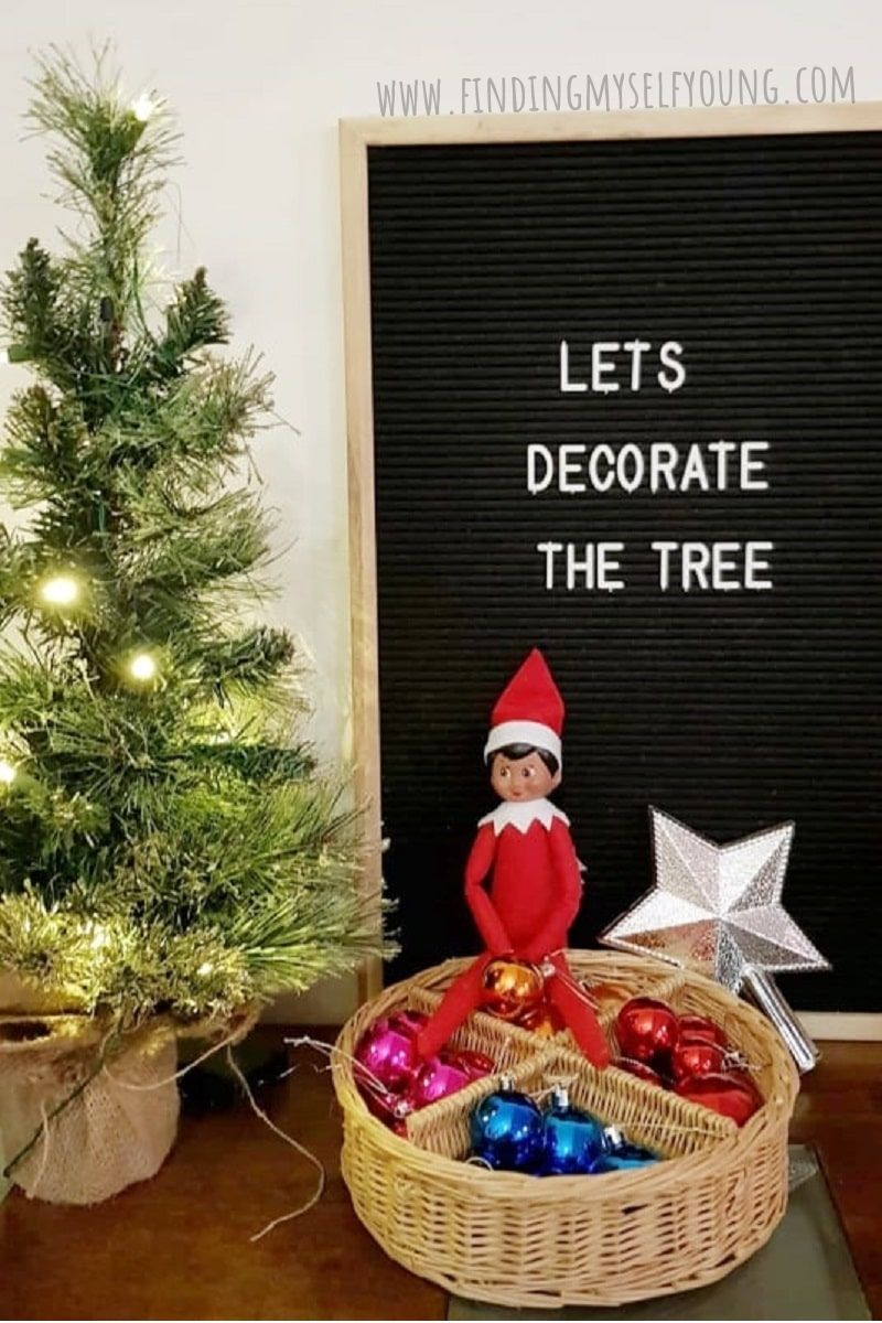 elf arriving with Christmas tree decorations