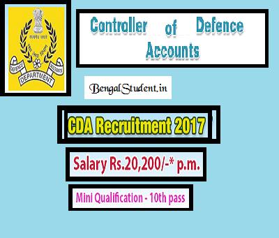 CDA Recruitment 2018 Defence Accounts - Apply Online