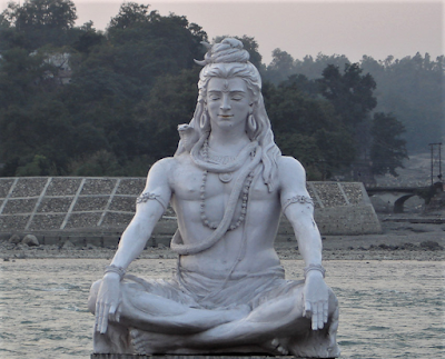 Modern sculpture of Shiva at Haridwar, on the bank of the Ganges River.