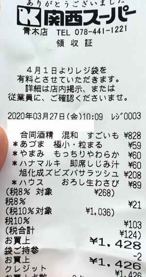 関西スーパー 青木店 2020/3/27 のレシート