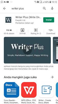 Aplikasi Writer Plus di Playstore