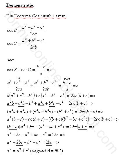 geometrie plana teorema cosinusului
