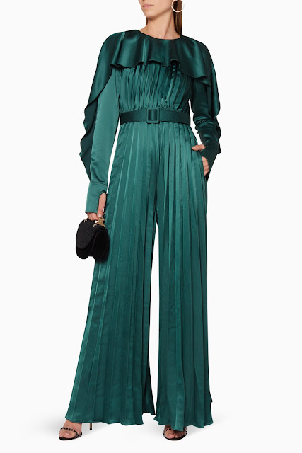 Emerald-Green Pleated Frill Jumpsuit 1850 AED