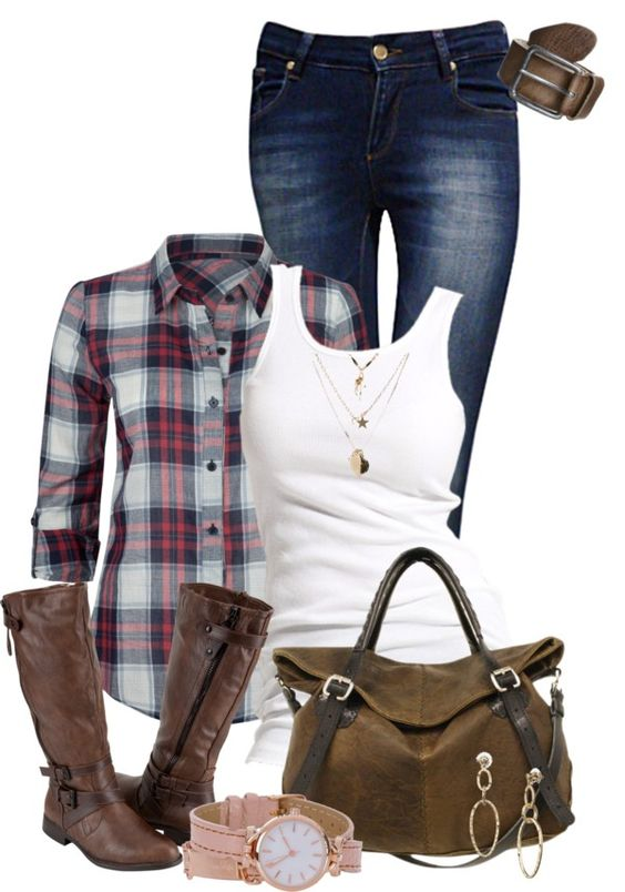 Fall Fashion - jeans, flannel and boots