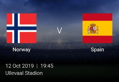 LIVE MATCH: Norway Vs Spain UEFA Euro 2020 Qualifiers 12/10/2019