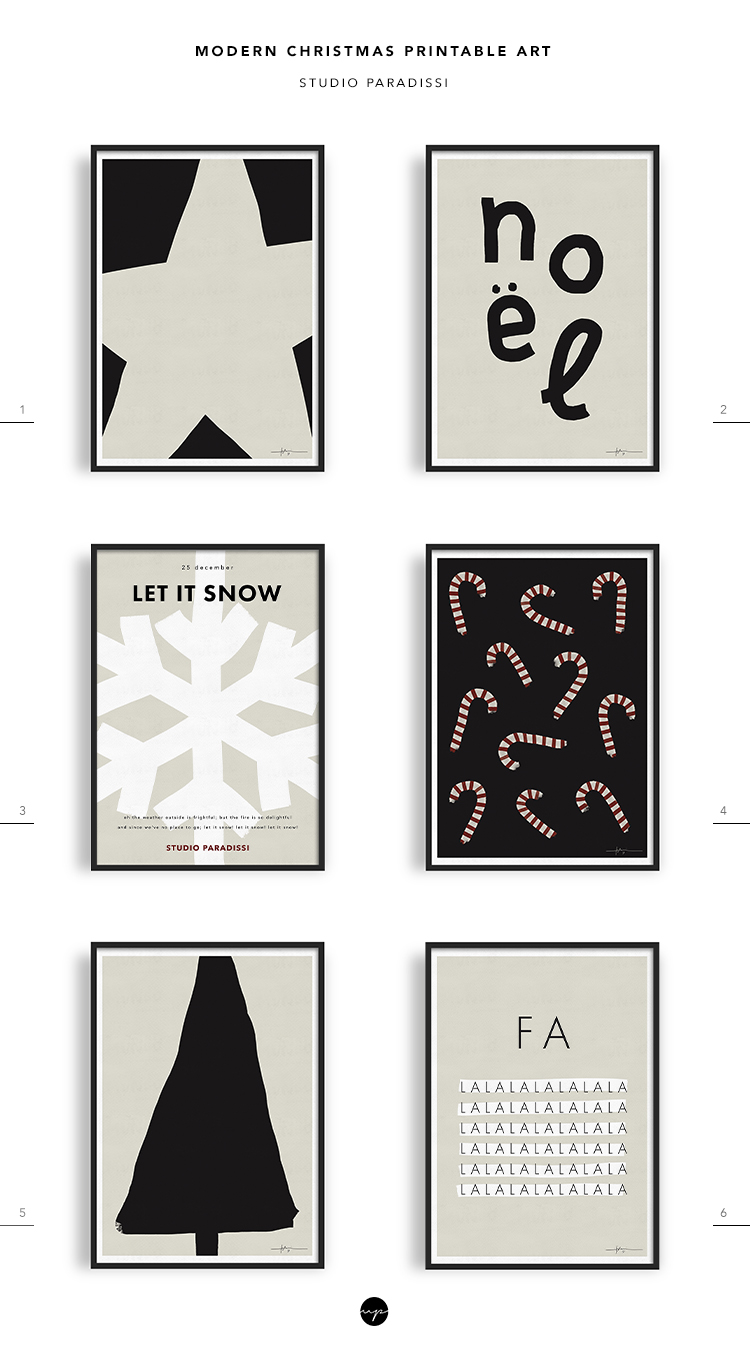 Modern Christmas Printable Art collection by Studio Paradissi