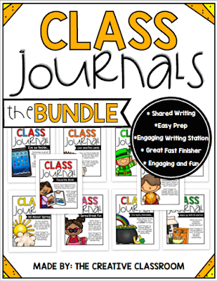 Shared class journals are great for fast finishers or writing stations. These journals are easy prep and engaging for all students in different grade levels.
