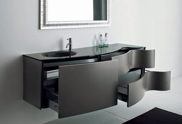 Contemporary black bathroom cabinets sinks