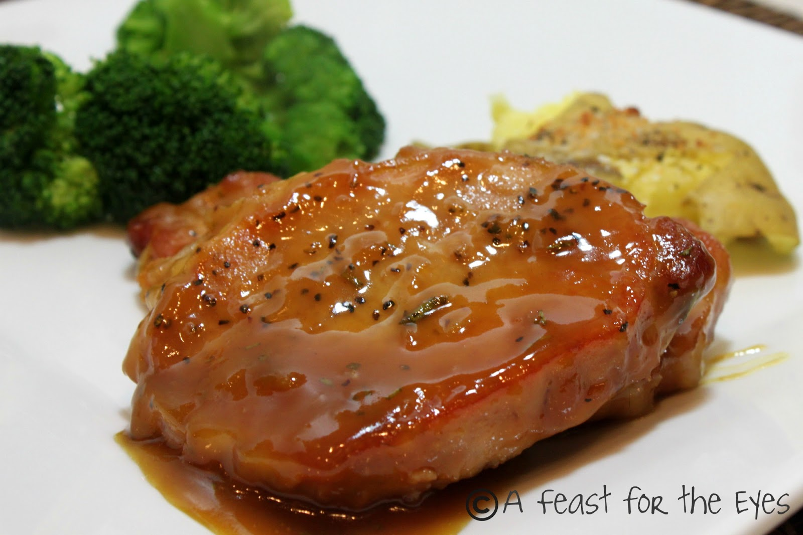 A Feast for the Eyes: Mustard-Maple Glazed Pork Chops