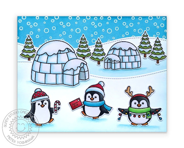 Sunny Studio Stamps Penguins with Igloos & Snow Slope Stitched Hills Handmade Holiday Christmas Card (using Winter Scenes & Penguin Pals Stamps)