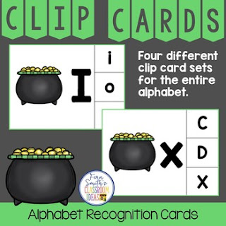Alphabet Clip Card Center Easy Prep for Uppercase & Lowercase St. Patrick's Day Themed