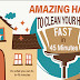Amazing Hacks To Clean Your Home Fast In 45 Mints #Infographic