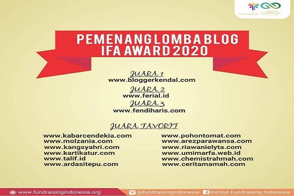 Juara Favorit Lomba Indonesia Fundraising Award tahun 2020 yang diselenggarakan oleh IFI (Institut Fundraising Award)