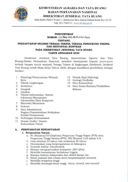 Lowongan Kerja Direktorat Jenderal Tata Ruang TA. 2020