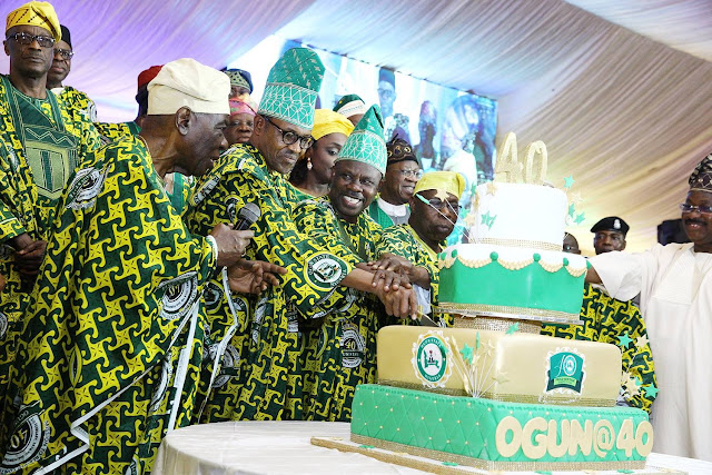 Photos: Olamide Meets President Buhari In Abeokuta As Ogun State Marks 40th Birthday