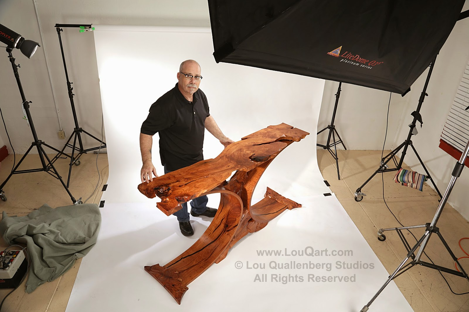 "Photographing the ""Walker Curve"" Mesquite Entry Table with Lou Quallenberg Studios"