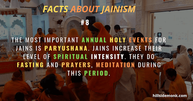 Jain festivals Paryushana and Daslakshana, Mahavir Jayanti, and Diwali.