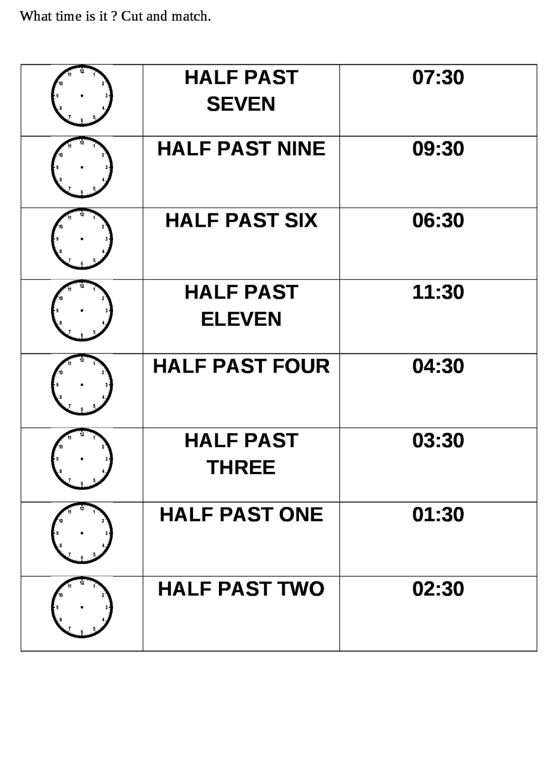 Time Worksheet Half Past