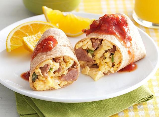 healthy breakfast burrito, breakfast burrito, sausage and potato burrito