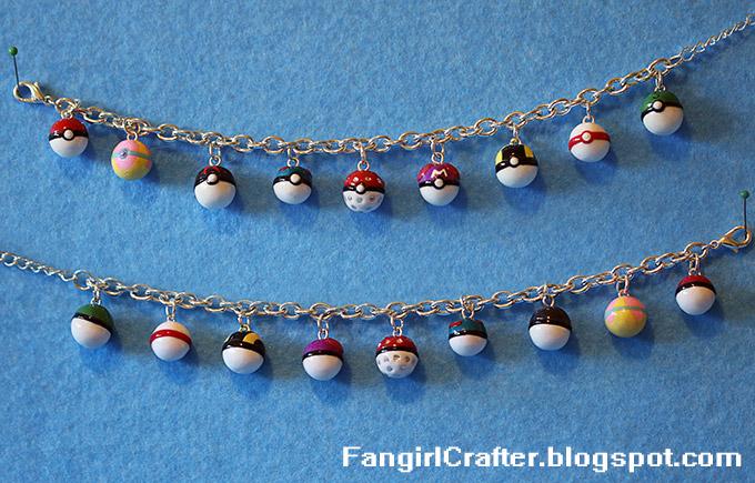 Polymer Clay Pokémon Poké Ball Charm Bracelet