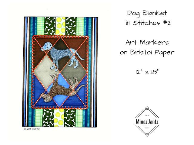 Dog Blankets in Stitches #1 by Minaz Jantz