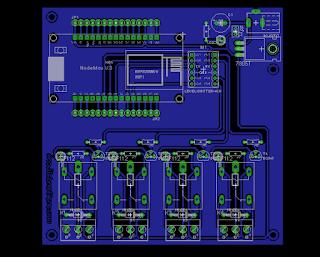 Rangkaian PCB NodeMCU dengan Relay, Skematik dan Board EAGLE