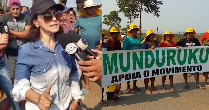 """""""Ninguém aqui é bandido. O trabalho é ilegal, porque o governo só burocratiza a legalização"""", diz garimpeira em manifestação na BR-163, em Moraes Almeida"""