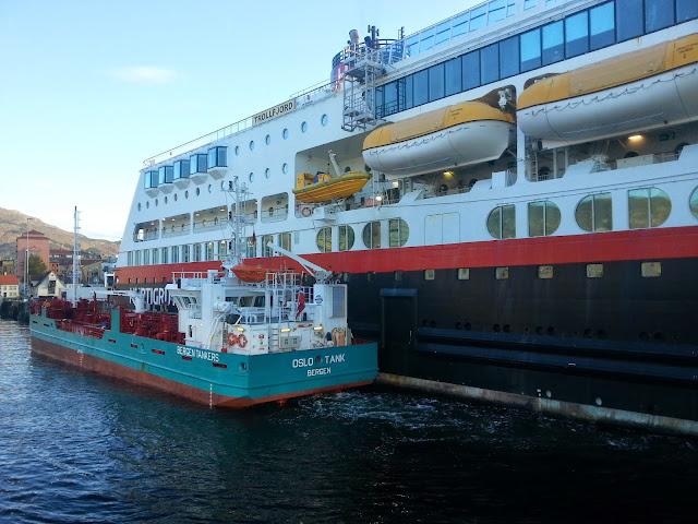 Hurtigruten MS Trollfjord in Bergen, Norway