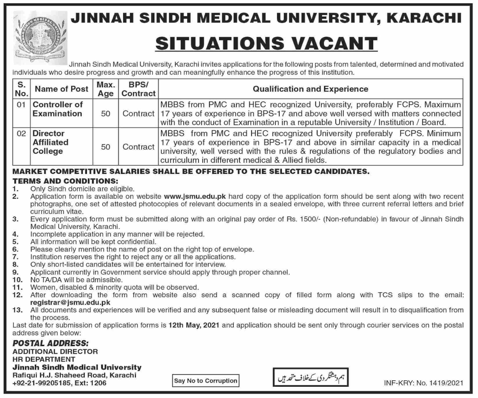 Jinnah Sindh Medical University (JSMU) Karachi Jobs 2021 in Pakistan