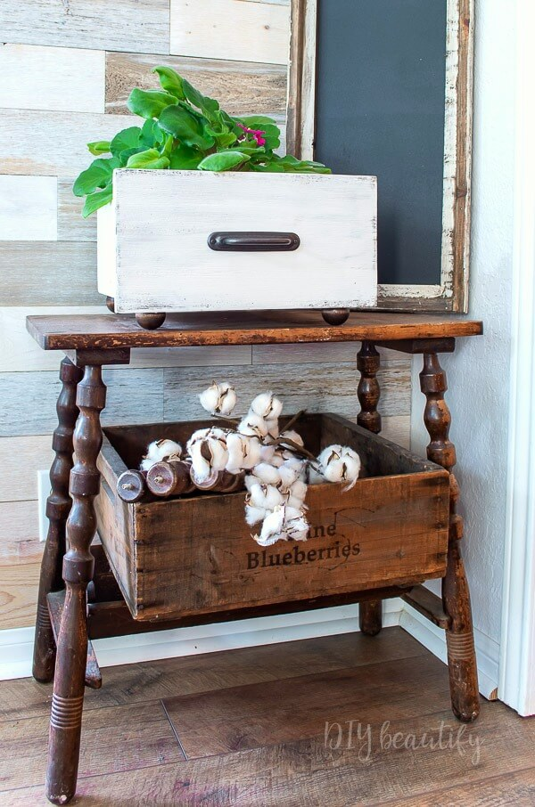 wood drawer for storage with bun feet