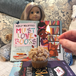 Help Wanted book and birthday cupcake